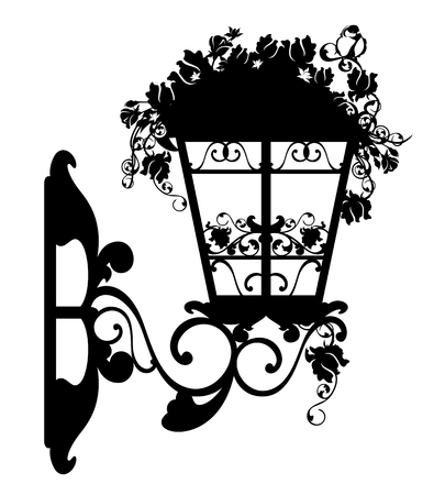 silhouette fleur: éclairage public entre fleurs rose décoration - mur conception de vecteur de la lampe Illustration