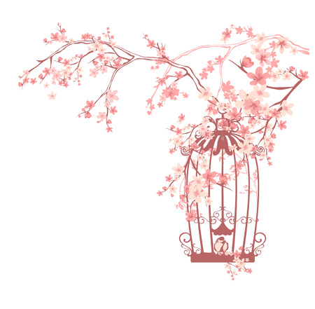 jaula de pájaro de la vendimia entre las flores de color rosa y ramas de los árboles - diseño de la temporada primavera floral