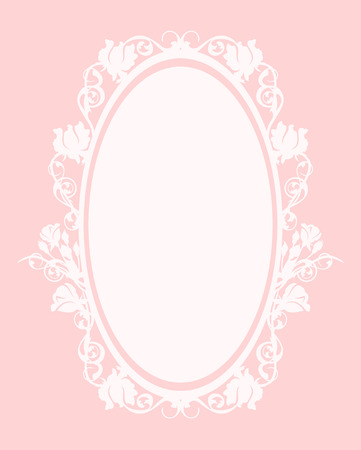 frame vintage: oval frame among roses  - pastel colored decorative floral design