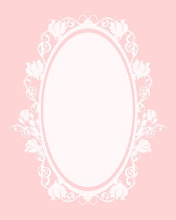 oval frame among roses  - pastel colored decorative floral design