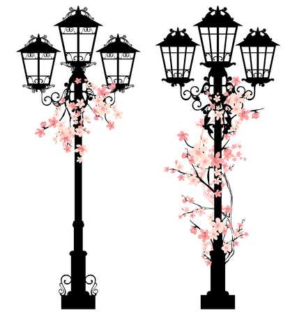 clipart street light: spring season street light vector decor with blooming tree branches