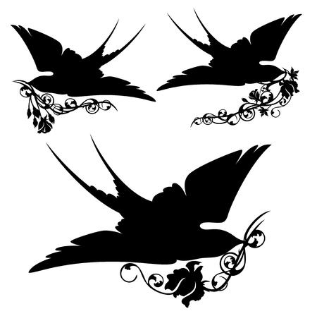 oiseau dessin: avaler à la rose - noir oiseaux tenant des fleurs ensemble silhouette vecteur