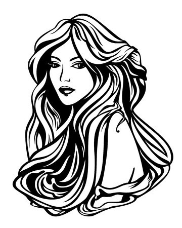 hairdo: beautiful woman with long gorgeous hair black and white vector portrait