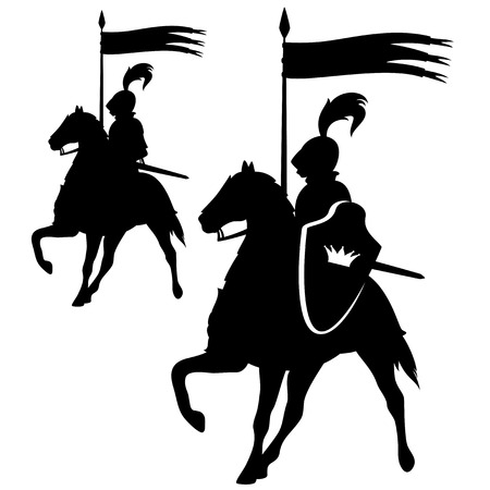 knighthood: Knight with a crown shield riding a horse - black and white silhouette design set Illustration