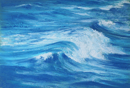 ocean wave: blue ocean wave with white foam - pastel drawn sea with artistic texture