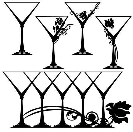 stemware: martini glasses black and white design collection - stemware set Illustration