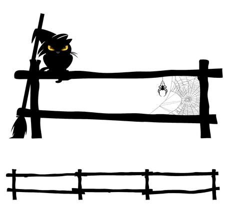 fences: black cat sitting on fence with spider web and broom - halloween characters design set