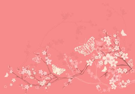 mariposas volando: Fondo de la estaci�n de la primavera con mariposas volando entre las flores del �rbol de sakura