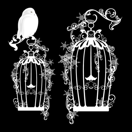 fairy tale snowy owl sitting on a bird cage among snowflakes - vector design elements Stock Illustratie