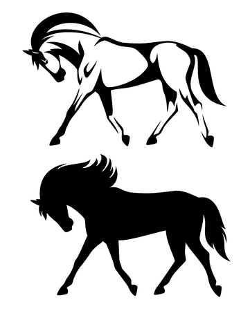 allure: running horse black and white design - side view outline and silhouette Illustration