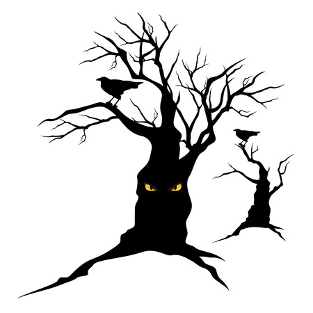 black raven sitting on creepy halloween tree with evil eyes - monster silhouettes