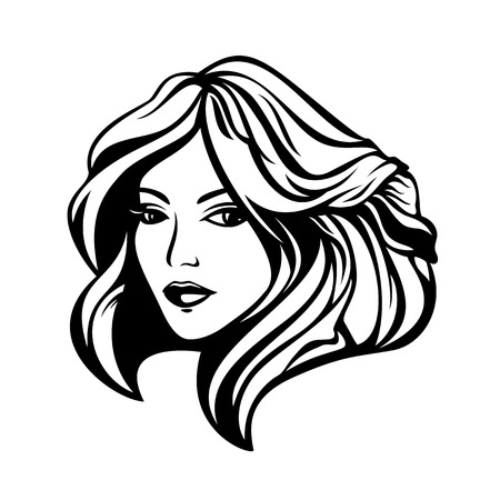 hairdo: beautiful woman with stylish hairdo black and white portrait Illustration