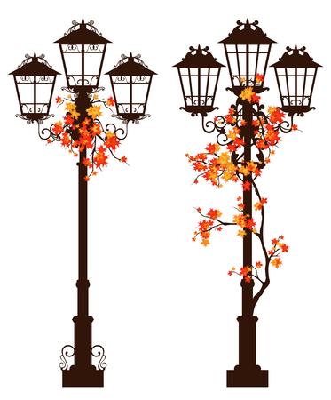 clipart street light: streetlight among autumn foliage - fall season vector design set