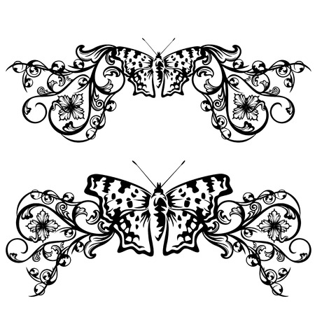 wingspread: floral border design with butterfly and flowers - black and white vector decor set