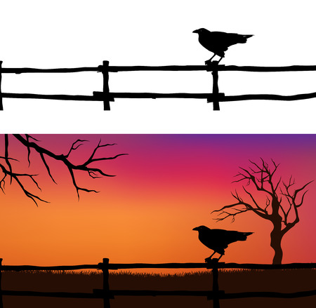 Halloween background with spooky raven bird, fence and bare twisted tree branches silhouette