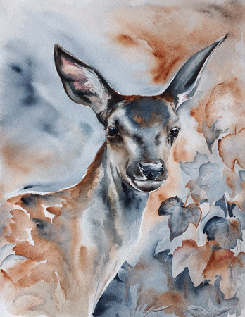 deer in the forest - watercolor wildlife painting with detailed paper texture