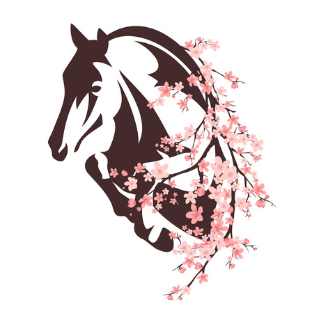 horse among flowers - animal and blooming tree branches design