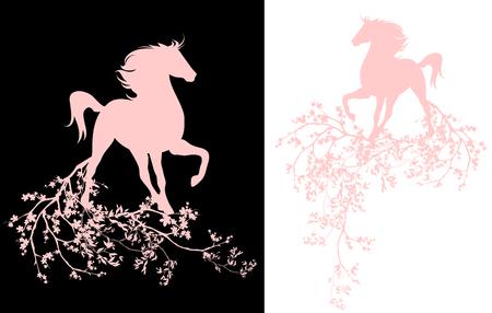 rosa negra: temporada de primavera en flor decorativa de diseño - caballo y ramas florecientes del arte