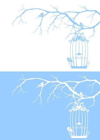 seasonal: vintage bird cage among winter tree branches - seasonal design
