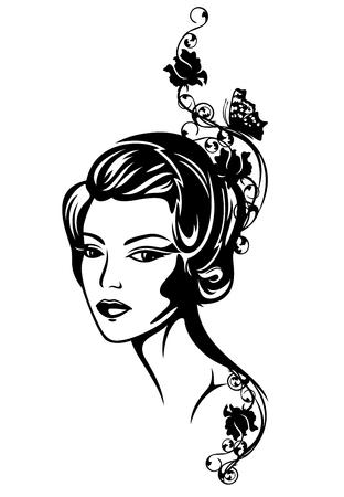 beautiful woman among rose flowers retro style portrait - 1920s fashion vector design