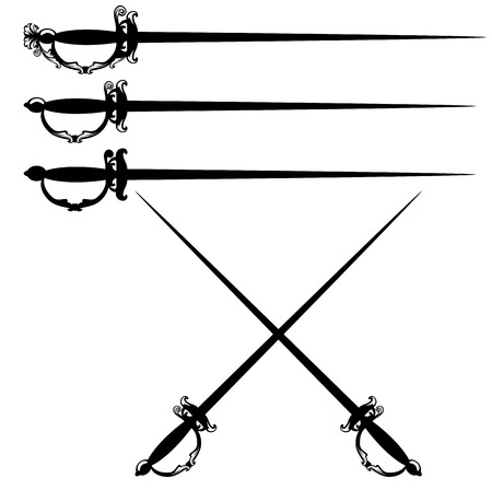 longsword: crossed epee swords black and white vector design set
