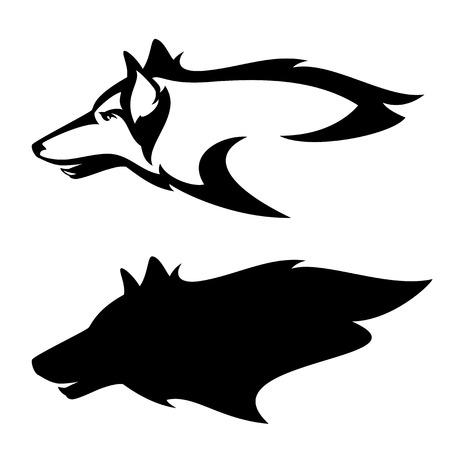 wolf head profile design - side view black and white vector mascot