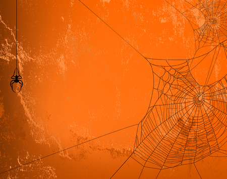 spidery: Spider web silhouette against orange wall - halloween theme spooky background with place for your text