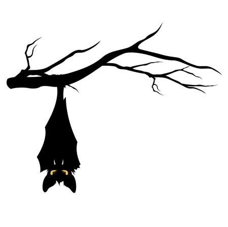 halloween theme evil bat hanging on a tree branch - funny monster vector design Illustration