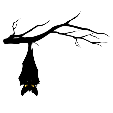 halloween theme evil bat hanging on a tree branch - funny monster vector design Çizim