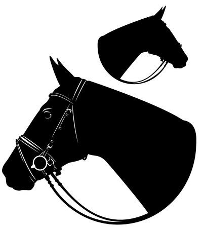 horse head with harness profile portrait - black and white vector design