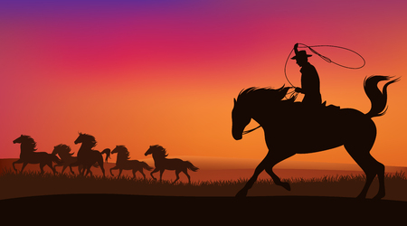 sundown: cowboy chasing the herd of wild mustang horses at sunset - wild west landscape vector