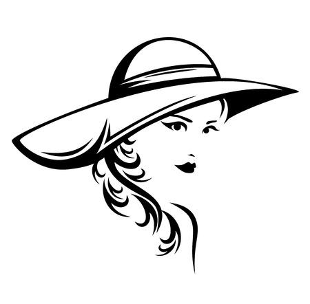 エレガントな女性の身に着けている帽子ベクトル イラスト - 長い髪の美しい少女の様式化された黒と白の肖像  イラスト・ベクター素材