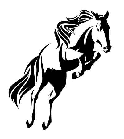 jumping horse black and white vector outline - monochrome equine design Stock Illustratie