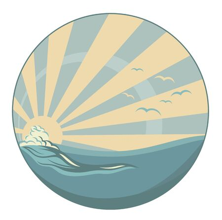 vintage wave: vintage style circle emblem -  sea wave and sun rays vector design