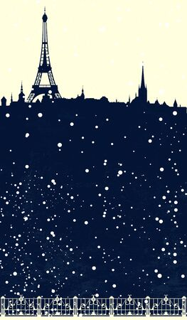 winter scene: winter season Paris scene - christmas card with eiffel tower and falling snow vector design