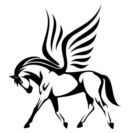 Pegasus ilustracji wektorowych - skrzydlaty koń widok z boku czarno-biały design