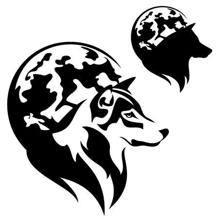 profile silhouette: wolf profile against full moon disk outline and silhouette - black and white vector design