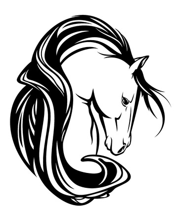 horse head with long mane - art nouveau style black and white vector design Illustration