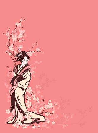 spring season vector vertical background with beautiful Japanese geisha among sakura tree flowers