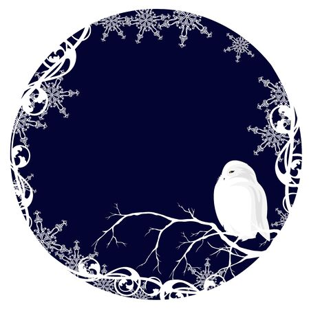 white owl among snowflakes - winter season xmas theme vector design
