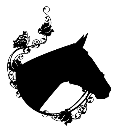 horse head among rose flowers - side view black vector silhouette