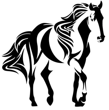 Hermoso movimiento caballo negro y blanco contorno - mustang vector de diseño