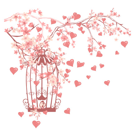 árboles con pajaros: open bird cage among flowers and flying hearts - valentines day vector design Vectores