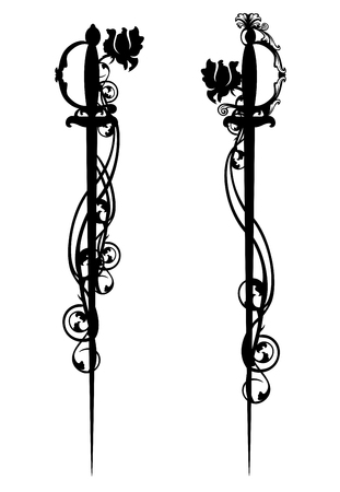 longsword: epee swords among rose flowers - black and white vector design