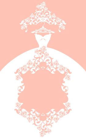 conception de robe de mariée - carte de vecteur de couleur pastel élégant