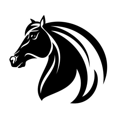 animal silhouette: profile horse head black and white vector design