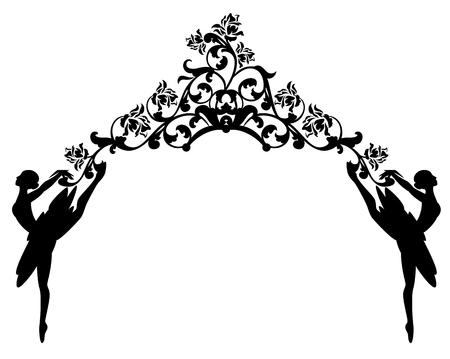 발레 댄서와 장미 꽃 - 흑백 벡터 장식 디자인