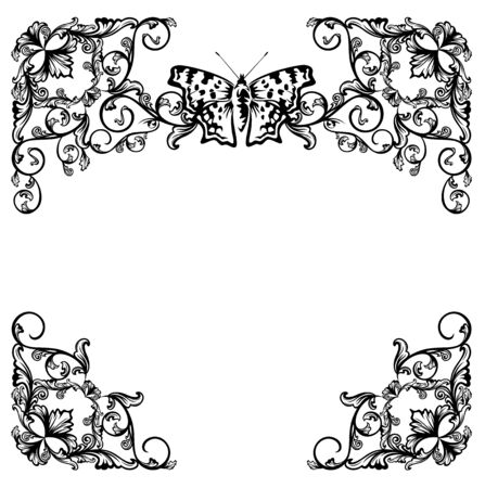 garden frame: butterfly and floral garden black and white vector frame design set