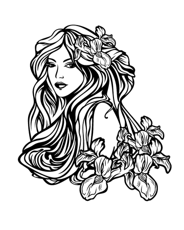 cabello negro: hermosa mujer con pelo largo entre las flores del iris - ilustración del arte del vector del estilo nouveau