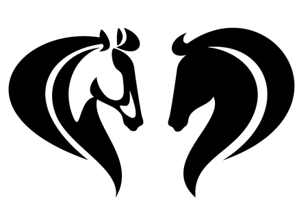 horse head side view simple black and white vector design